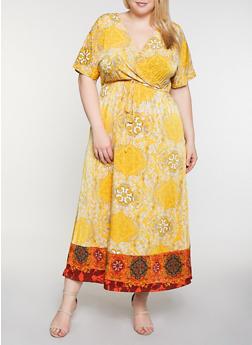 Plus Size Faux Wrap Border Floral Print Maxi Dress - 3390056121958