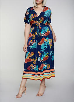 Plus Size Tropical Border Print Faux Wrap Maxi Dress - 3390056121959