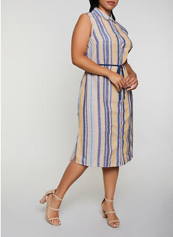 Plus Size Striped Linen Midi Shirt Dress - 3390056121960