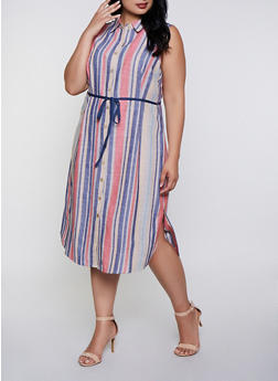 Plus Size Striped Linen Tie Waist Shirt Dress - 3390056121961