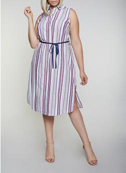 Plus Size Striped Sleeveless Tie Waist Shirt Dress - 3390056121962
