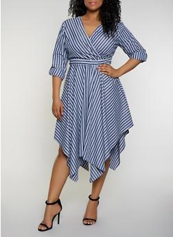 Plus Size Striped Faux Wrap Dress   3390056122021 - 3390056122021