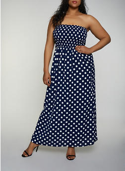 Plus Size Polka Dot Crepe Knit Maxi Dress - 3390056122022