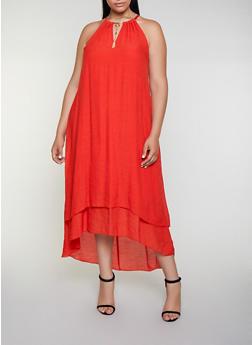 Plus Size Gauze Knit Tassel Neckline Shift Dress - 3390056122032