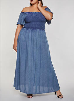 Plus Size Smocked Off the Shoulder Maxi Dress - 3390056122041