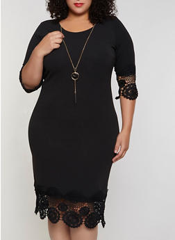 Plus Size Crochet Trim Dress with Necklace - 3390056122044