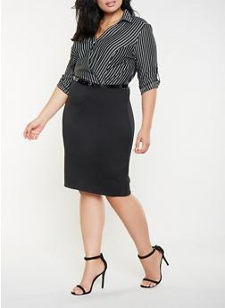 Plus Size Striped Faux Wrap Dress - 3390056122045