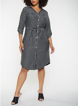 Plus Size Striped Button Front Shirt Dress - 3390056122048