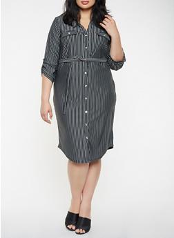 Plus Size Striped Shirt Dress - 3390056122049
