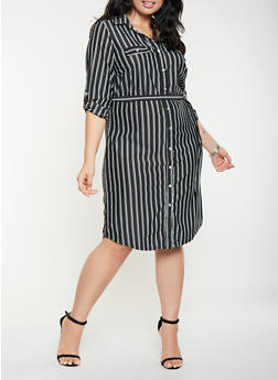 Plus Size Striped Shirt Dress - 3390056122050