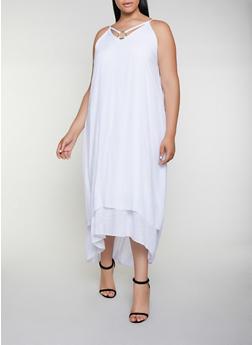 Plus Size Gauze Knit O Ring Detail Maxi Dress - 3390056122051