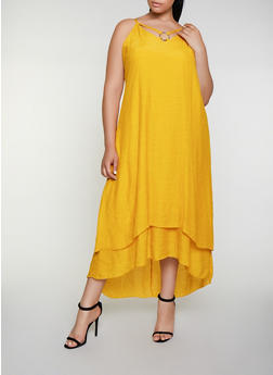 Plus Size Gauze Knit O Ring Detail Maxi Dress - 3390056122051