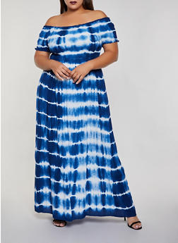 Plus Size Tie Dye Off the Shoulder Maxi Dress - 3390056122054