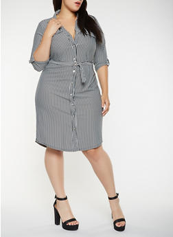 Plus Size Striped Shirt Dress - 3390056122055
