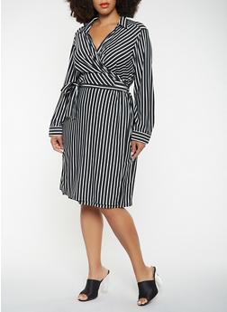 Plus Size Striped Wrap Dress - 3390056122059
