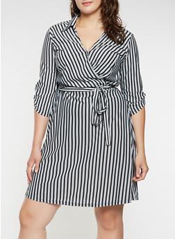 Plus Size Striped Faux Wrap Dress - 3390056122061