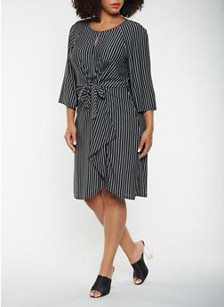 Plus Size Striped Tie Front Dress - 3390056122062