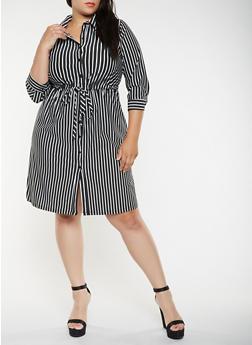 Plus Size Striped Shirt Dress - 3390056122063