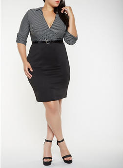 Plus Size Striped Faux Wrap Dress - 3390056122068