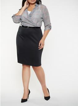 Plus Size Plaid Faux Wrap Dress - 3390056122070