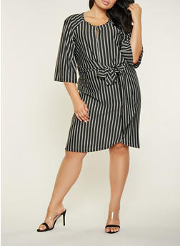 Plus Size Vertical Stripe Tie Front Dress - 3390056122076