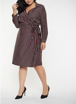 Plus Size Striped Wrap Dress - 3390056122078
