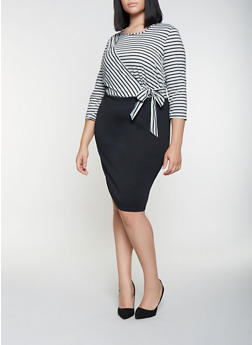 Plus Size Striped Faux Wrap Dress - 3390056122083