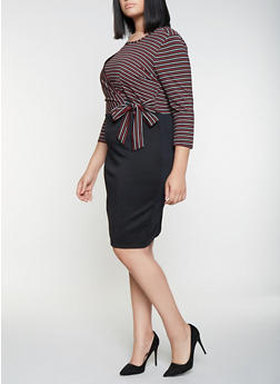 Plus Size Striped Faux Wrap Dress - 3390056122084