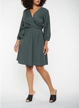 Plus Size Striped Faux Wrap Dress - 3390056122086