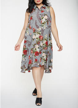 Plus Size Floral Striped Shirt Dress - 3390056122092