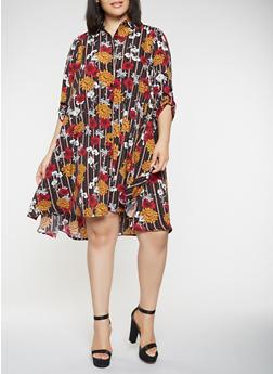 Plus Size Floral Striped Shirt Dress - 3390056122103