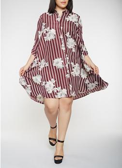 Plus Size Floral Striped Shirt Dress - 3390056122104