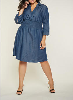 Plus Size Smocked Waist Denim Dress - 3390056122105