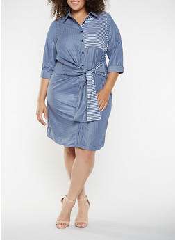 Plus Size Striped Tie Front Shirt Dress - 3390056122107