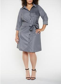 Plus Size Striped Tie Front Shirt Dress - 3390056122108