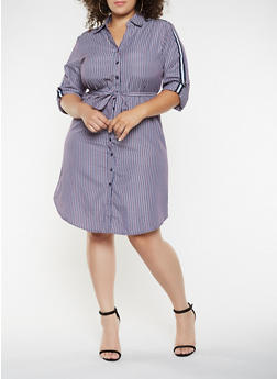 Plus Size Ribbon Tape Detail Striped Shirt Dress - 3390056122110