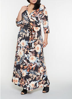 Plus Size Floral Faux Wrap Maxi Dress - 3390056122143
