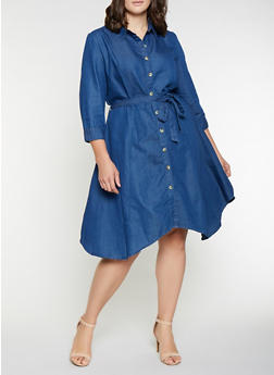 Plus Size Denim Button Front Dress - 3390056122148
