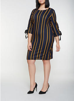 Plus Size Lace Up Sleeve Striped Dress - 3390056122154