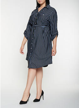 Plus Size Striped Shirt Dress - 3390056122183