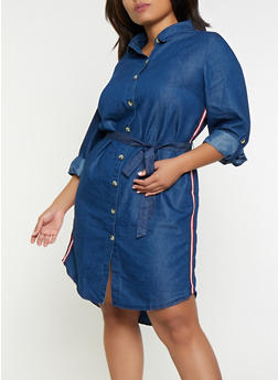 Plus Size Striped Tape Denim Dress - 3390056122207