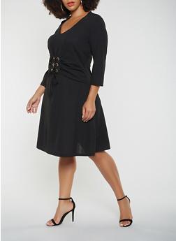 Plus Size Lace Up Waist Dress - 3390056122208
