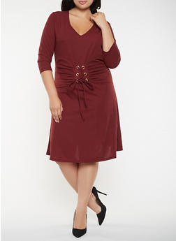 Plus Size Lace Up Waist Dress - 3390056122208