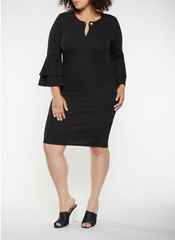 Plus Size Faux Pearl Detail Midi Dress - 3390056122209