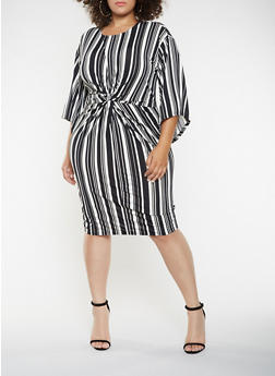 Plus Size Twist Front Printed Dress - 3390056122210