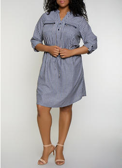 Plus Size Zip Pocket Striped Linen Dress - 3390056123014