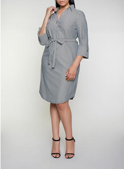 Plus Size Tie Waist Striped Shirt Dress - 3390056123049