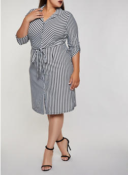 Plus Size Striped Tie Waist Shirt Dress | 3390056123059 - 3390056123059