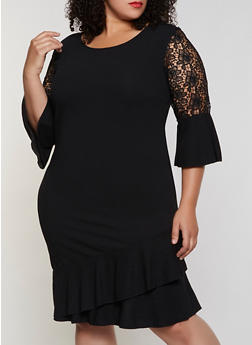 Plus Size Crochet Detail Ruffled Dress - 3390056124043
