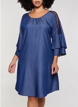 Plus Size Caged Tiered Sleeve Chambray Dress - 3390056124061